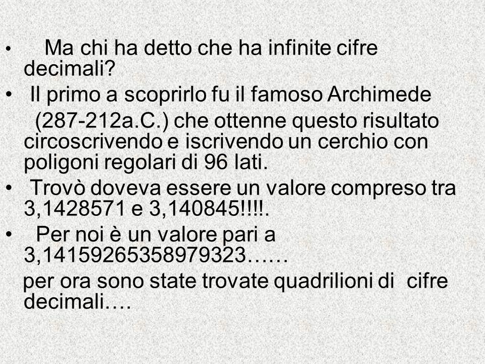 Ma chi ha detto che ha infinite cifre decimali? Il primo a scoprirlo fu il famoso Archimede (287-212a.C.) che ottenne questo risultato circoscrivendo