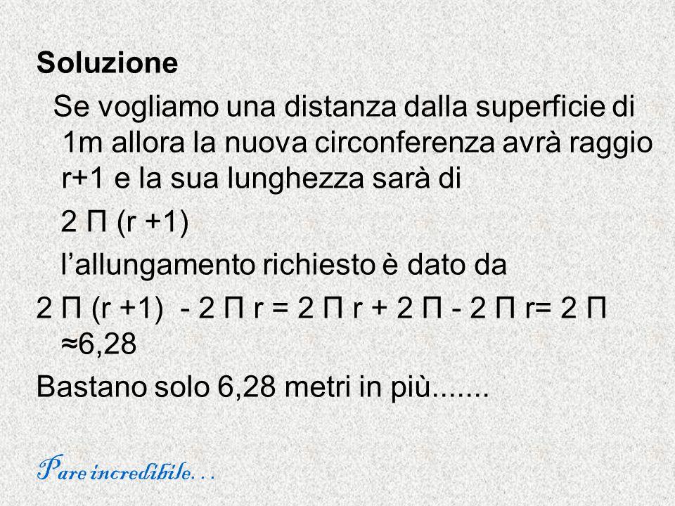 Soluzione Se vogliamo una distanza dalla superficie di 1m allora la nuova circonferenza avrà raggio r+1 e la sua lunghezza sarà di 2 Π (r +1) lallunga