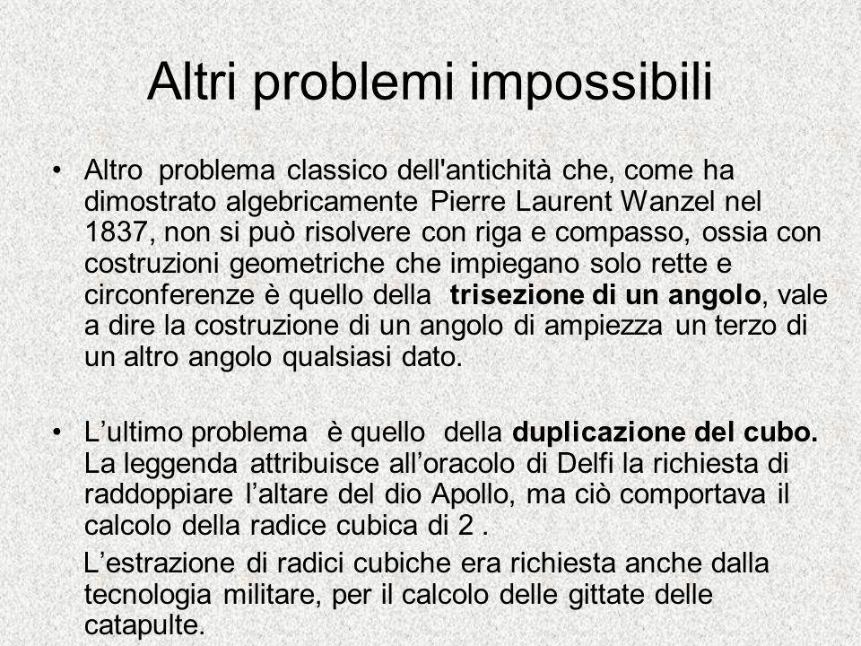 Altri problemi impossibili Altro problema classico dell'antichità che, come ha dimostrato algebricamente Pierre Laurent Wanzel nel 1837, non si può ri