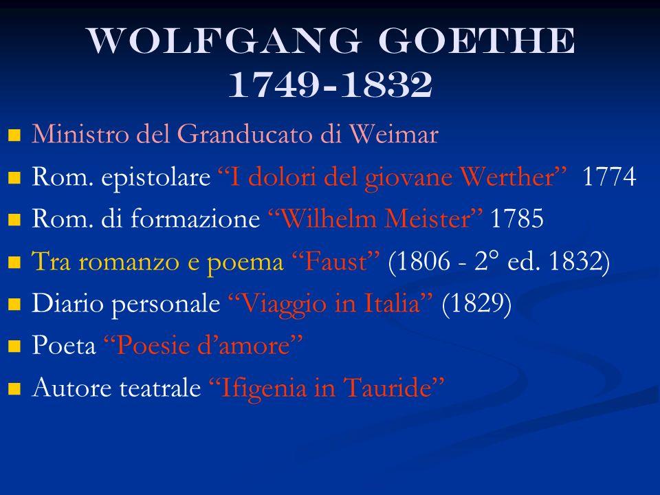 Wolfgang Goethe 1749-1832 Ministro del Granducato di Weimar Rom. epistolare I dolori del giovane Werther 1774 Rom. di formazione Wilhelm Meister 1785