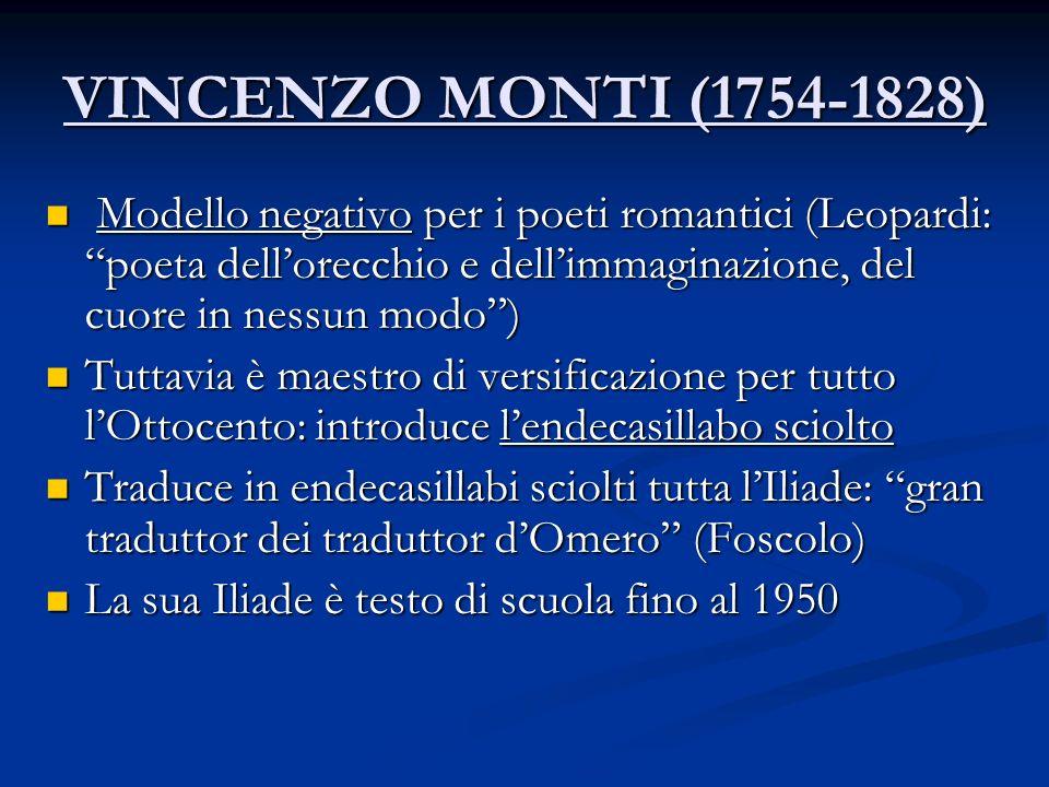 VINCENZO MONTI (1754-1828) M Modello negativo per i poeti romantici (Leopardi: poeta dellorecchio e dellimmaginazione, del cuore in nessun modo) Tutta