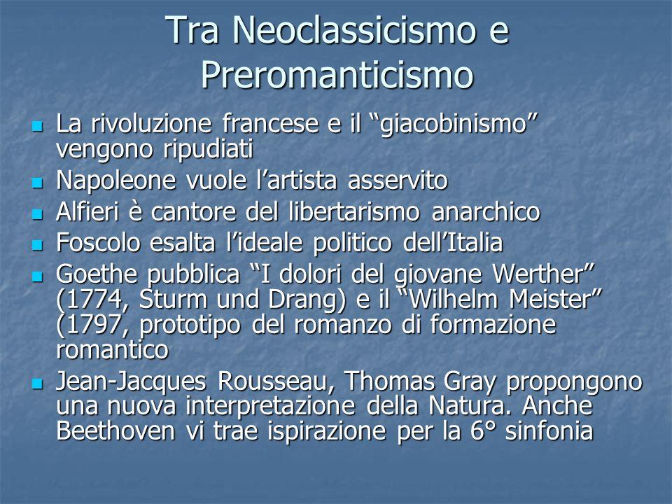 Tra Neoclassicismo e Preromanticismo La rivoluzione francese e il giacobinismo vengono ripudiati La rivoluzione francese e il giacobinismo vengono rip
