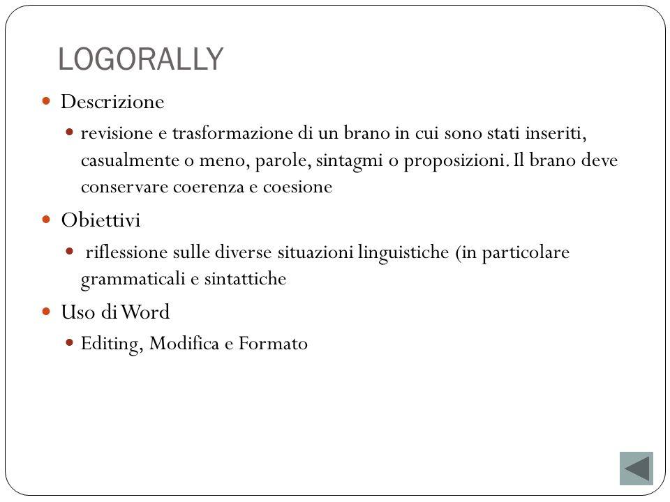 LOGORALLY Descrizione revisione e trasformazione di un brano in cui sono stati inseriti, casualmente o meno, parole, sintagmi o proposizioni. Il brano