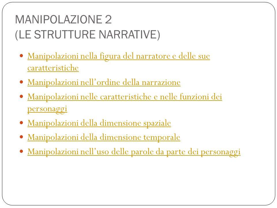 MANIPOLAZIONE 2 (LE STRUTTURE NARRATIVE) Manipolazioni nella figura del narratore e delle sue caratteristiche Manipolazioni nella figura del narratore