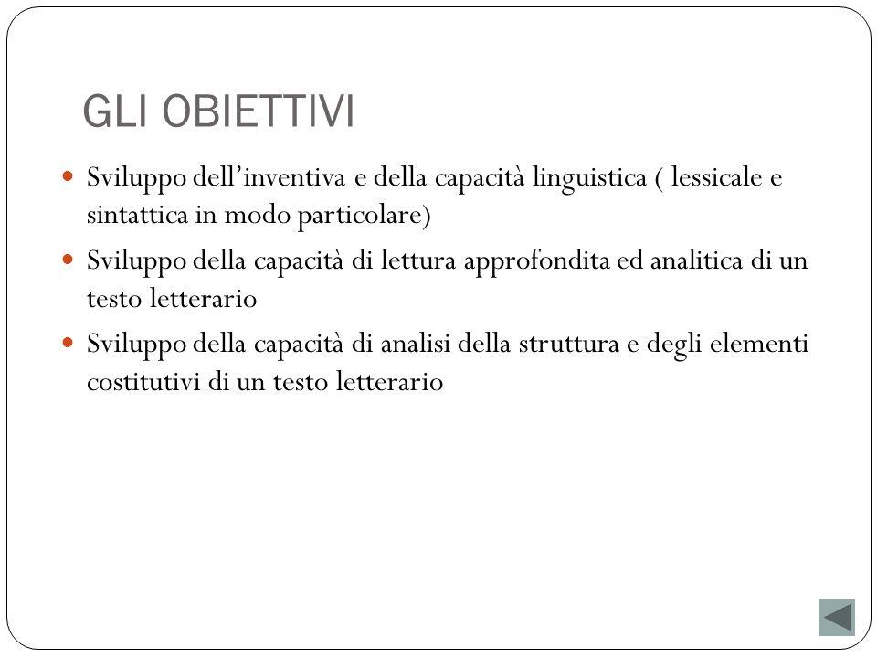 GLI OBIETTIVI Sviluppo dellinventiva e della capacità linguistica ( lessicale e sintattica in modo particolare) Sviluppo della capacità di lettura app