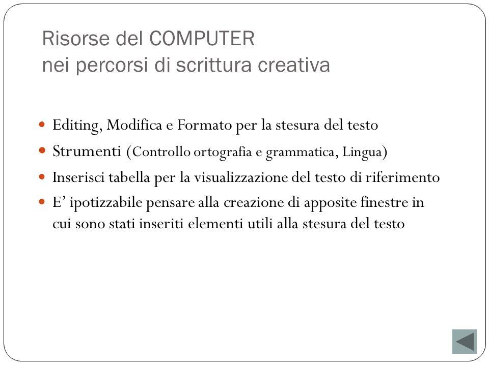Risorse del COMPUTER nei percorsi di scrittura creativa Editing, Modifica e Formato per la stesura del testo Strumenti ( Controllo ortografia e gramma