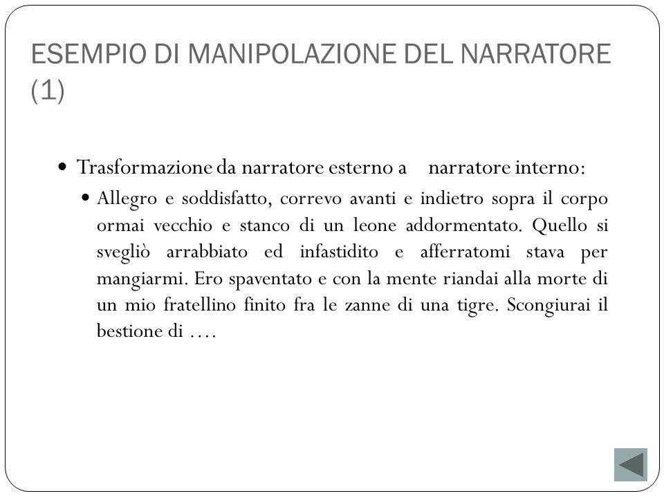 ESEMPIO DI MANIPOLAZIONE DEL NARRATORE (1) Trasformazione da narratore esterno a narratore interno: Allegro e soddisfatto, correvo avanti e indietro s