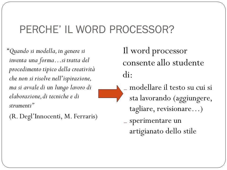 PERCHE IL WORD PROCESSOR? Quando si modella, in genere si inventa una forma…si tratta del procedimento tipico della creatività che non si risolve nell