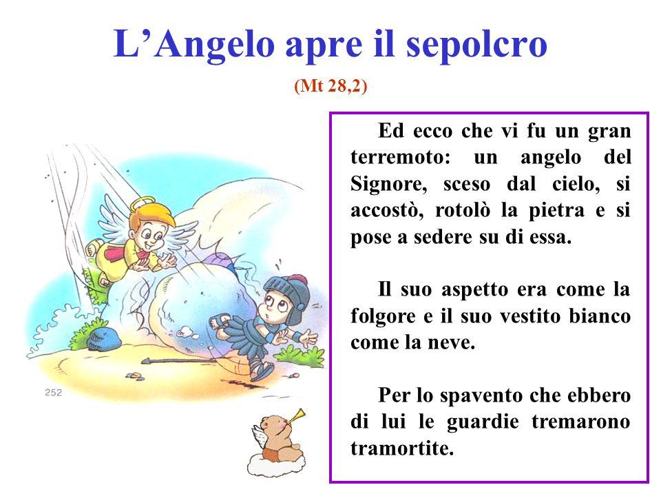 LAngelo apre il sepolcro (Mt 28,2) Ed ecco che vi fu un gran terremoto: un angelo del Signore, sceso dal cielo, si accostò, rotolò la pietra e si pose a sedere su di essa.