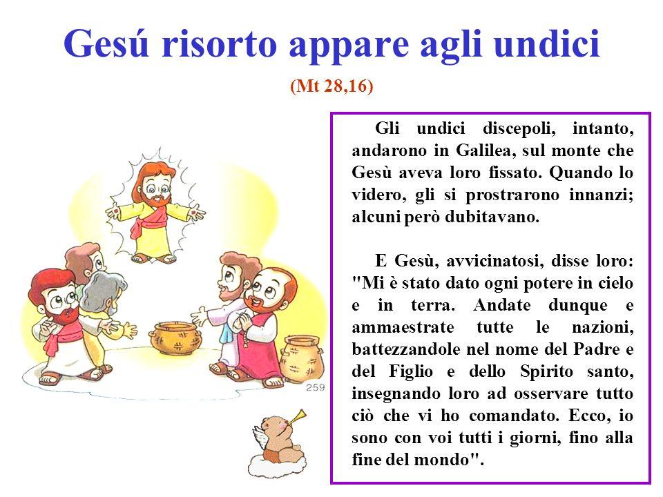 Gesú risorto appare agli undici (Mt 28,16) Gli undici discepoli, intanto, andarono in Galilea, sul monte che Gesù aveva loro fissato. Quando lo videro
