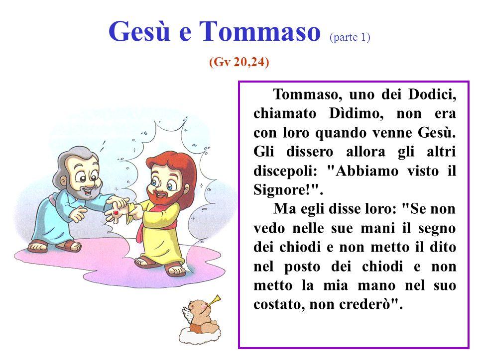 Gesù e Tommaso (parte 1) (Gv 20,24) Tommaso, uno dei Dodici, chiamato Dìdimo, non era con loro quando venne Gesù. Gli dissero allora gli altri discepo