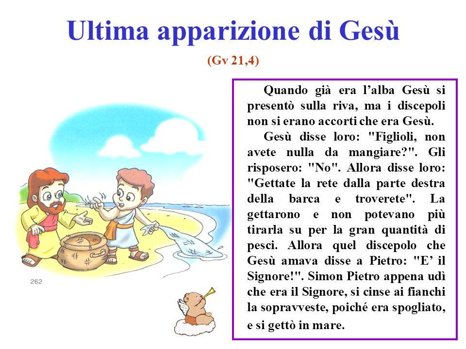 Ultima apparizione di Gesù (Gv 21,4) Quando già era lalba Gesù si presentò sulla riva, ma i discepoli non si erano accorti che era Gesù. Gesù disse lo