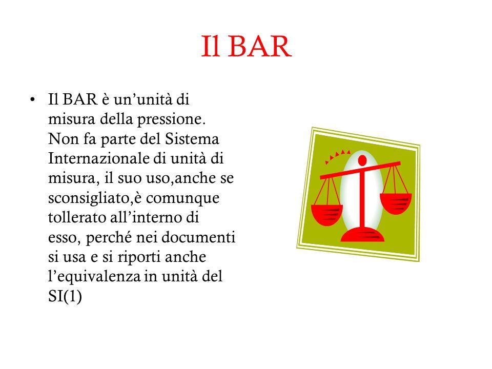 Il BAR Il BAR è ununità di misura della pressione.