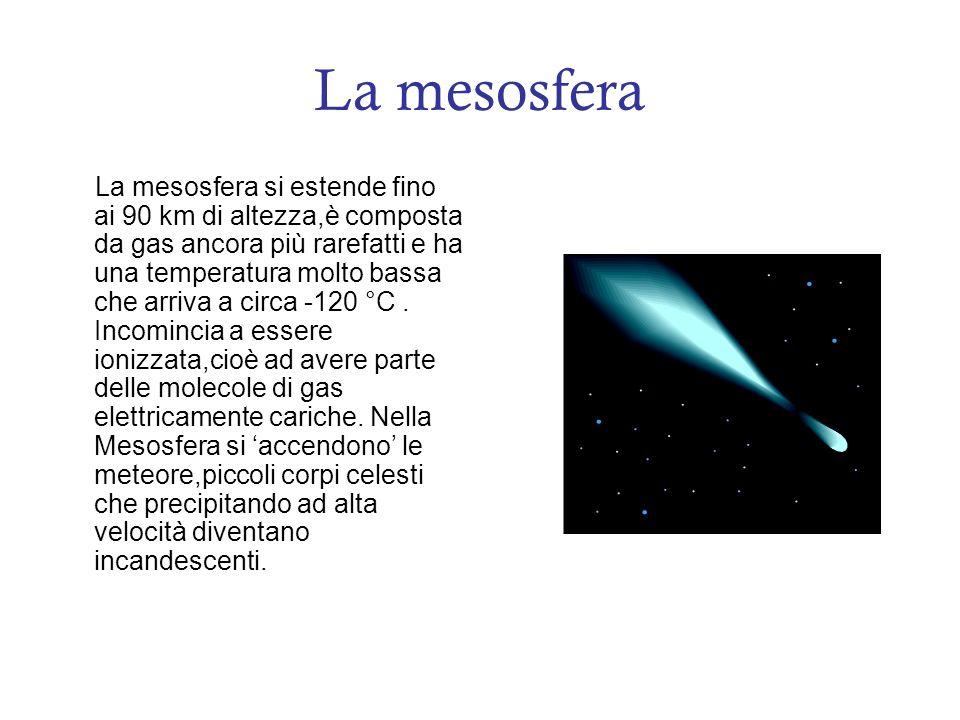 La mesosfera La mesosfera si estende fino ai 90 km di altezza,è composta da gas ancora più rarefatti e ha una temperatura molto bassa che arriva a circa -120 °C.