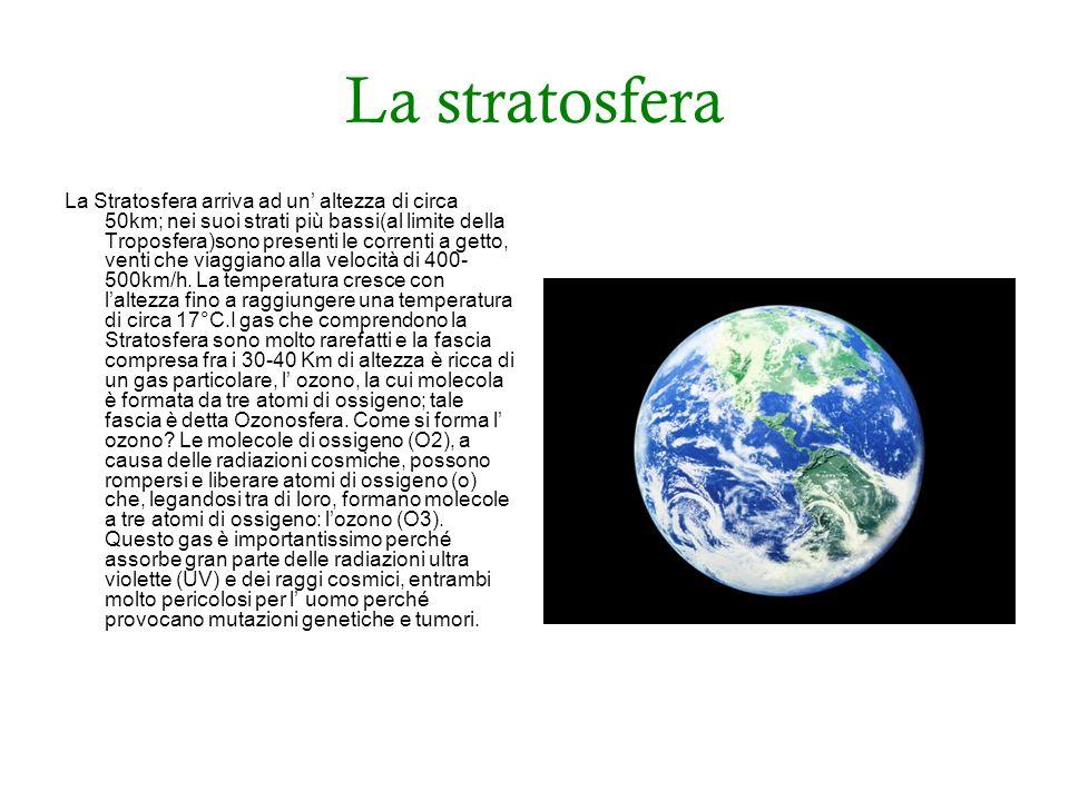 La stratosfera La Stratosfera arriva ad un altezza di circa 50km; nei suoi strati più bassi(al limite della Troposfera)sono presenti le correnti a getto, venti che viaggiano alla velocità di 400- 500km/h.