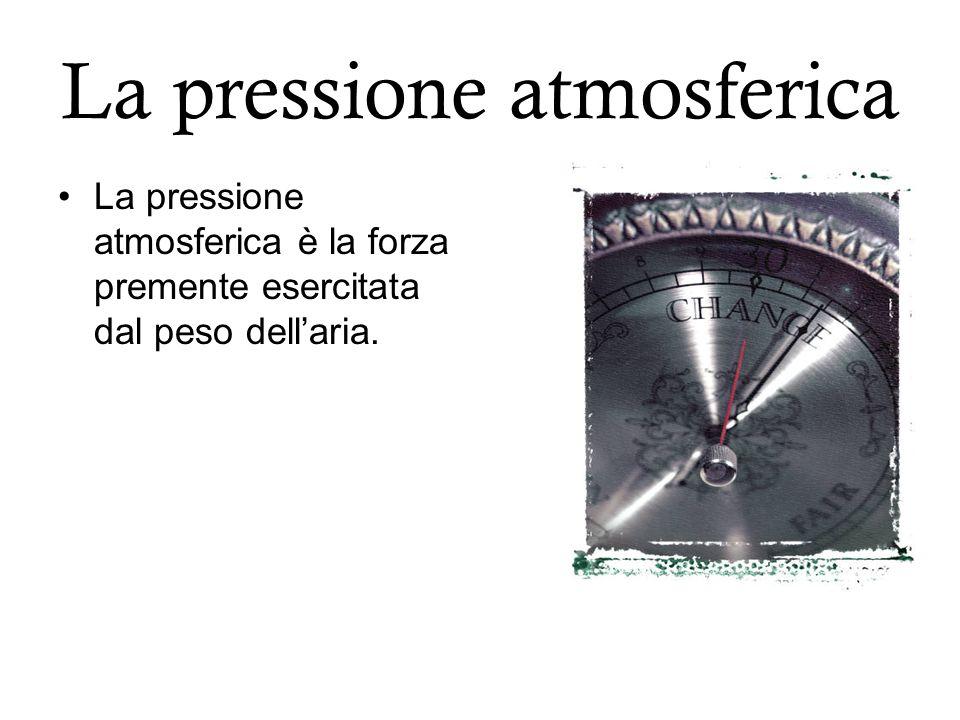 La pressione atmosferica La pressione atmosferica è la forza premente esercitata dal peso dellaria.