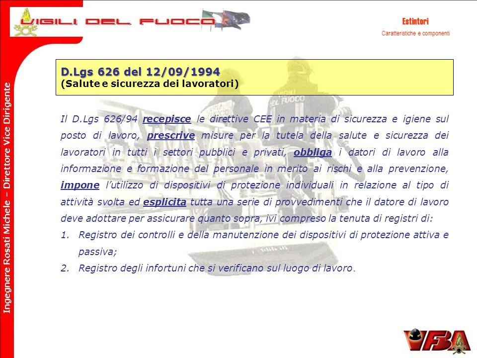 Estintori D.Lgs 626 del 12/09/1994 (Salute e sicurezza dei lavoratori) Il D.Lgs 626/94 recepisce le direttive CEE in materia di sicurezza e igiene sul