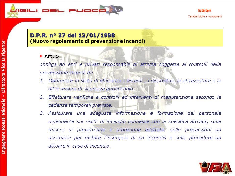 D.P.R. n° 37 del 12/01/1998 (Nuovo regolamento di prevenzione incendi) Art. 5 obbliga ad enti e privati responsabili di attività soggette ai controlli