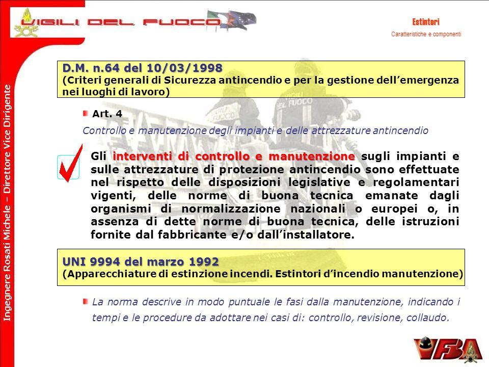 Estintori D.M. n.64 del 10/03/1998 (Criteri generali di Sicurezza antincendio e per la gestione dellemergenza nei luoghi di lavoro) Art. 4 Controllo e