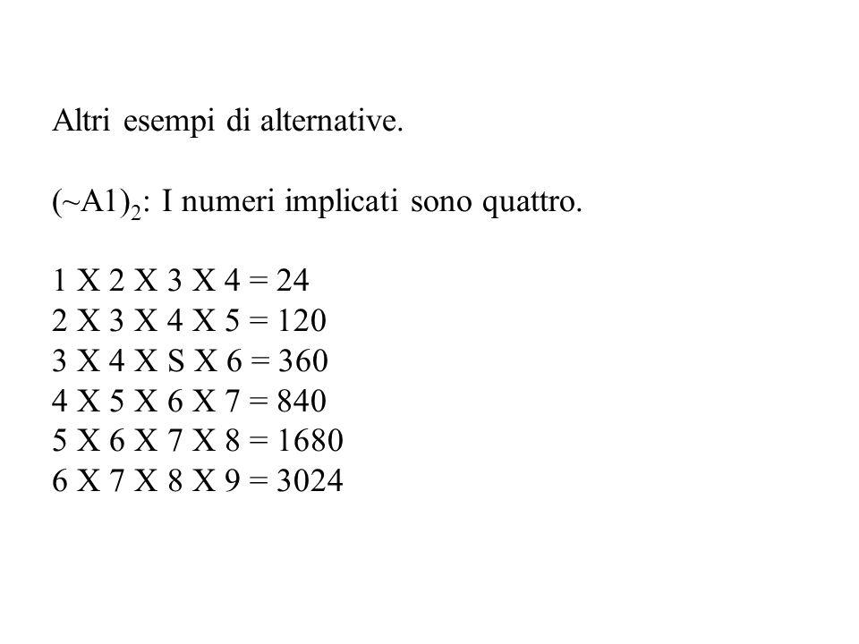 Altri esempi di alternative. (~A1) 2 : I numeri implicati sono quattro.