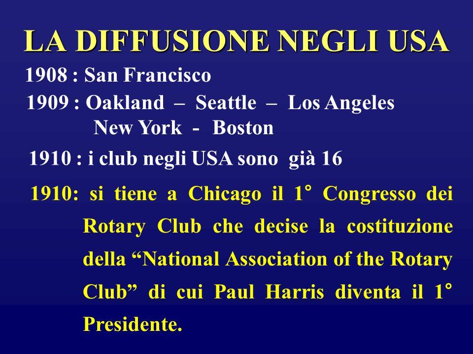 LA DIFFUSIONE NEGLI USA 1908 : San Francisco 1909 : Oakland – Seattle – Los Angeles New York - Boston 1910 : i club negli USA sono già 16 1910: si tie