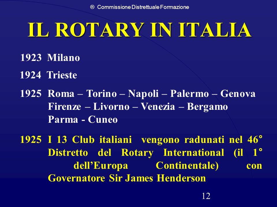 ® Commissione Distrettuale Formazione 12 IL ROTARY IN ITALIA 1923 Milano 1924 Trieste 1925 Roma – Torino – Napoli – Palermo – Genova Firenze – Livorno
