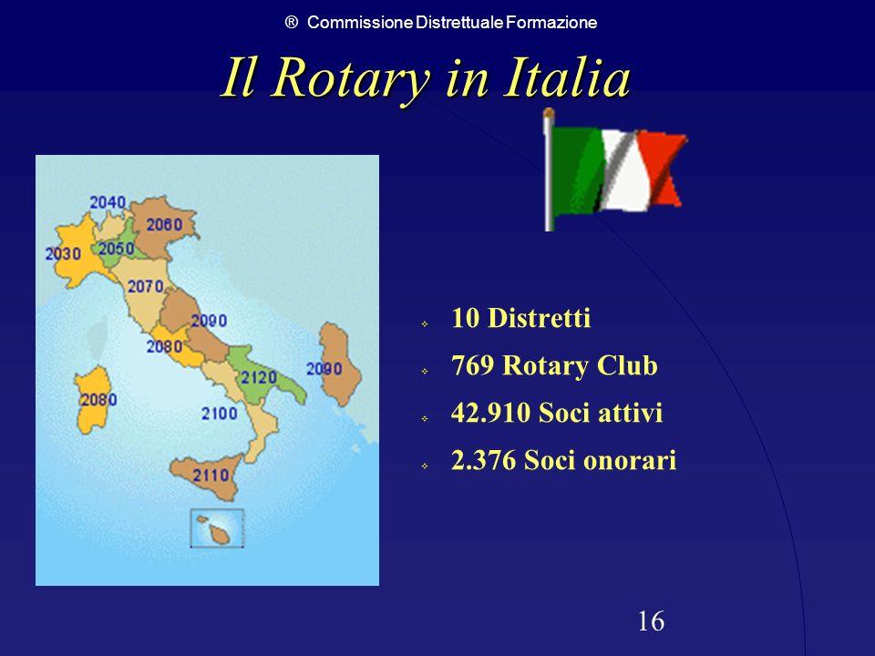 ® Commissione Distrettuale Formazione 16 Il Rotary in Italia Il Rotary in Italia 10 Distretti 769 Rotary Club 42.910 Soci attivi 2.376 Soci onorari