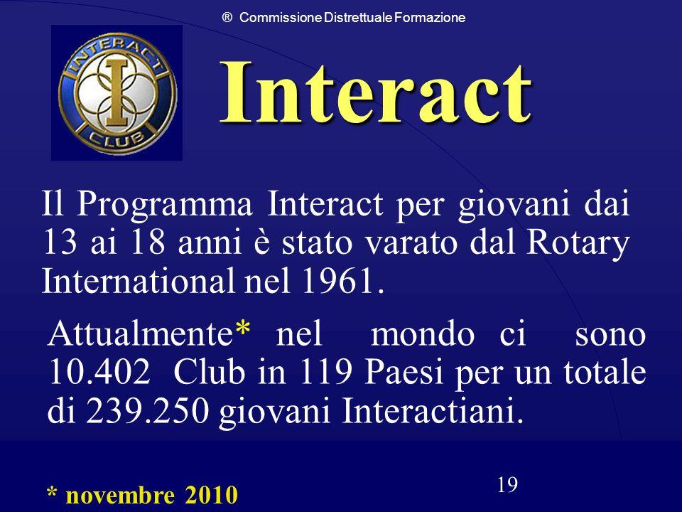 ® Commissione Distrettuale Formazione 19 Interact Il Programma Interact per giovani dai 13 ai 18 anni è stato varato dal Rotary International nel 1961