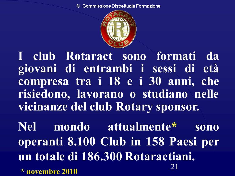 ® Commissione Distrettuale Formazione 21 I club Rotaract sono formati da giovani di entrambi i sessi di età compresa tra i 18 e i 30 anni, che risiedo