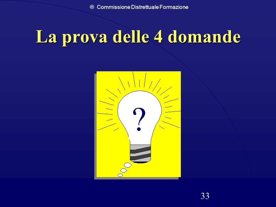 ® Commissione Distrettuale Formazione 33 La prova delle 4 domande ?