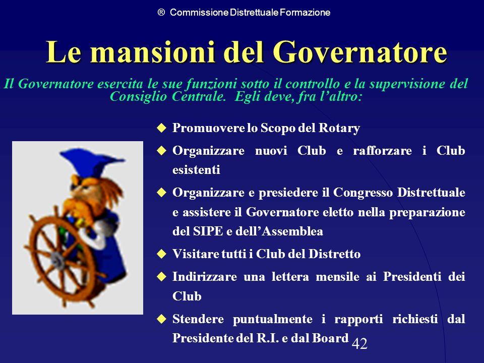 ® Commissione Distrettuale Formazione 42 Le mansioni del Governatore Promuovere lo Scopo del Rotary Organizzare nuovi Club e rafforzare i Club esisten