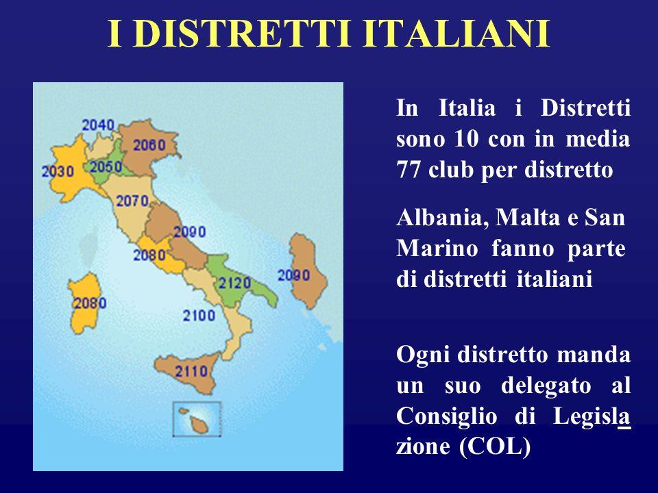 I DISTRETTI ITALIANI In Italia i Distretti sono 10 con in media 77 club per distretto Albania, Malta e San Marino fanno parte di distretti italiani Og