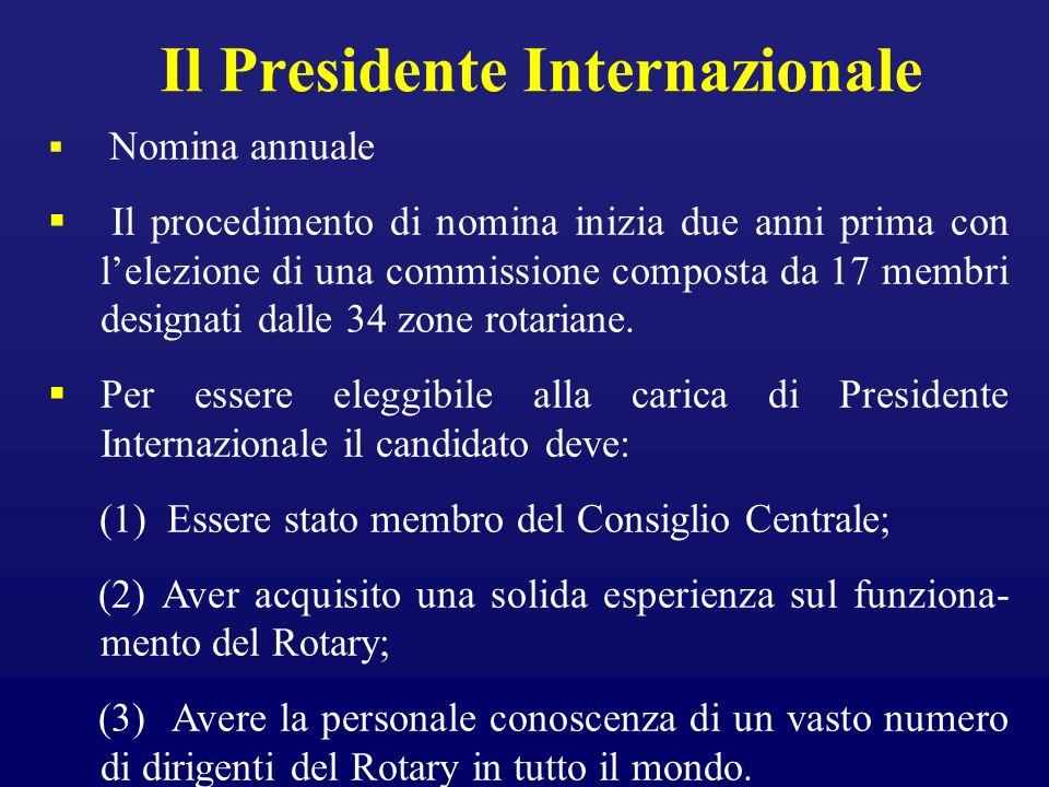 Il Presidente Internazionale Nomina annuale Il procedimento di nomina inizia due anni prima con lelezione di una commissione composta da 17 membri des