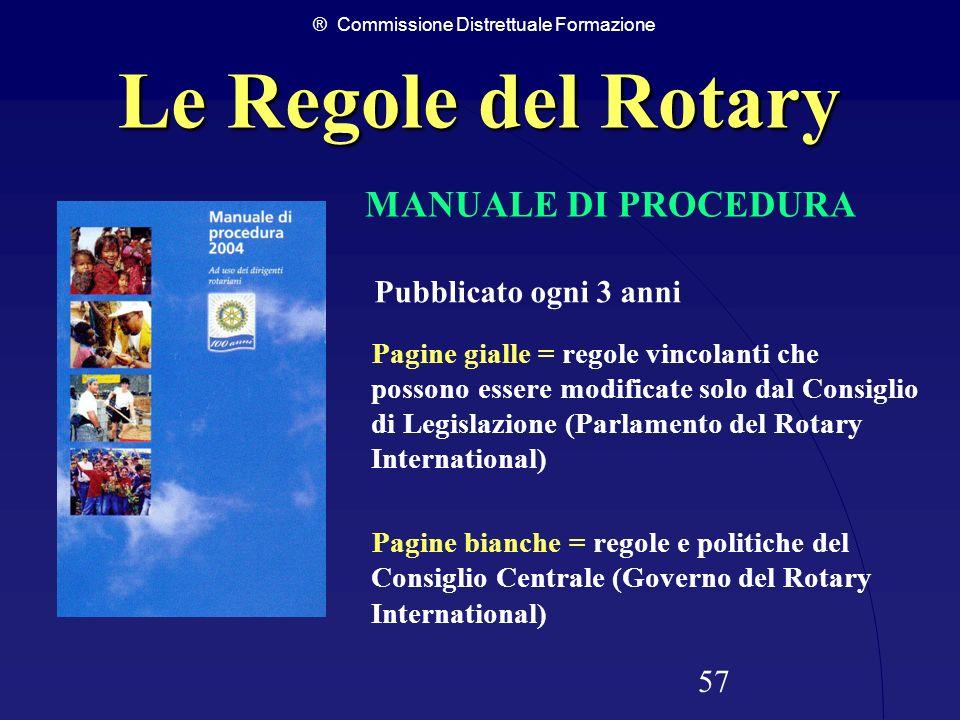 ® Commissione Distrettuale Formazione 57 Le Regole del Rotary Pubblicato ogni 3 anni Pagine gialle = regole vincolanti che possono essere modificate s