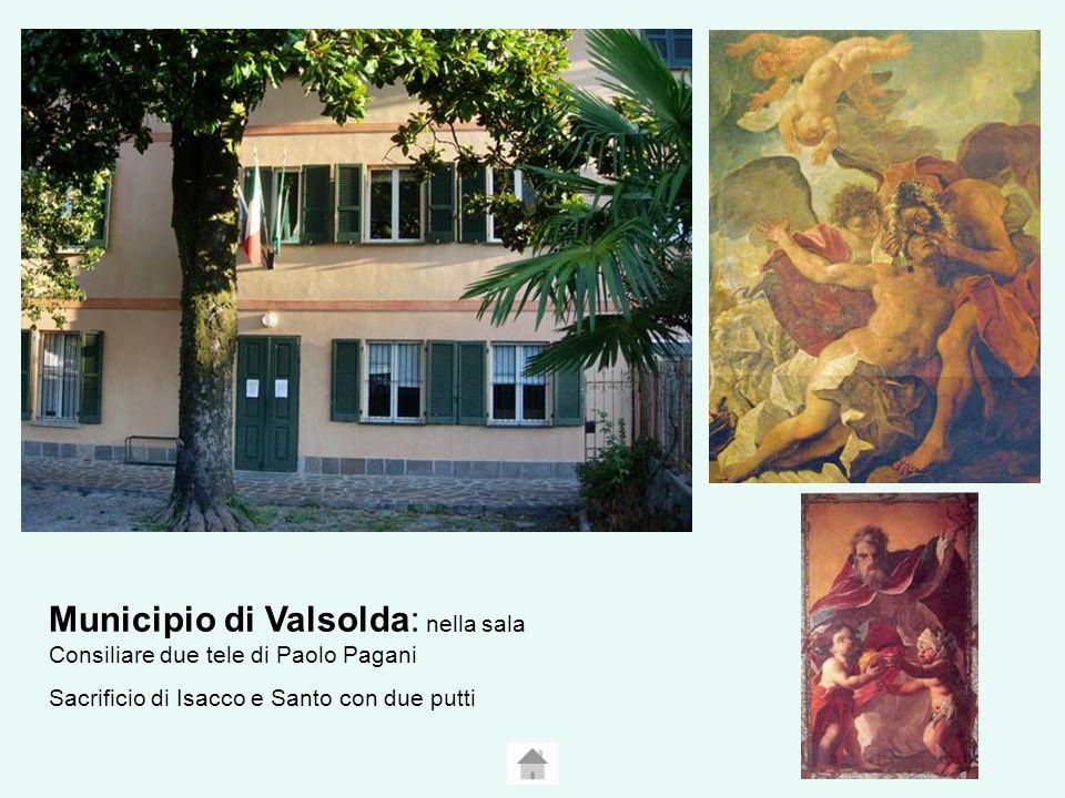 Municipio di Valsolda: nella sala Consiliare due tele di Paolo Pagani Sacrificio di Isacco e Santo con due putti