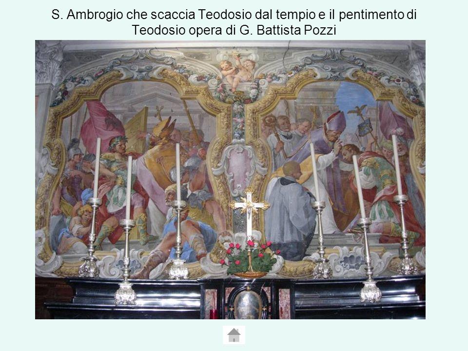 S. Ambrogio che scaccia Teodosio dal tempio e il pentimento di Teodosio opera di G. Battista Pozzi