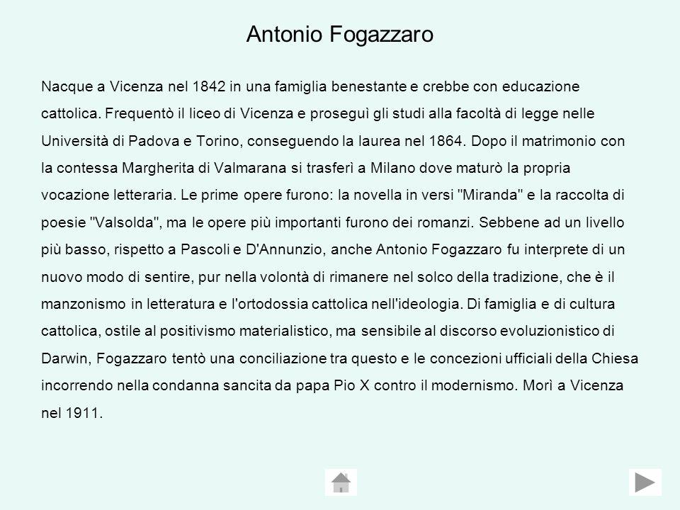 Antonio Fogazzaro Nacque a Vicenza nel 1842 in una famiglia benestante e crebbe con educazione cattolica.