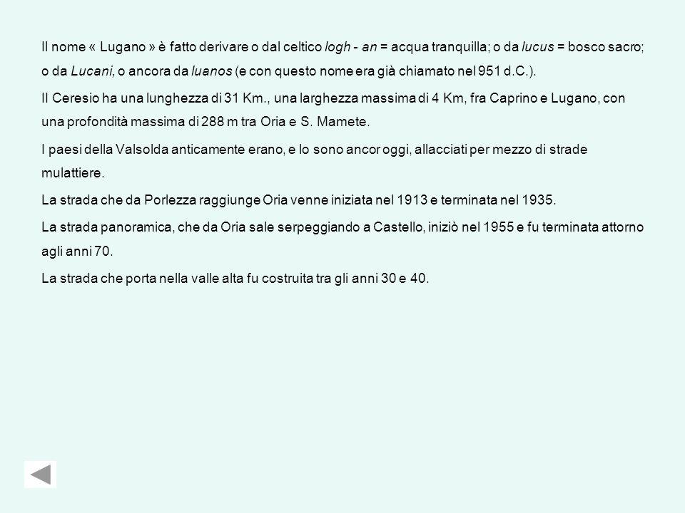 Il nome « Lugano » è fatto derivare o dal celtico logh - an = acqua tranquilla; o da lucus = bosco sacro; o da Lucani, o ancora da luanos (e con questo nome era già chiamato nel 951 d.C.).