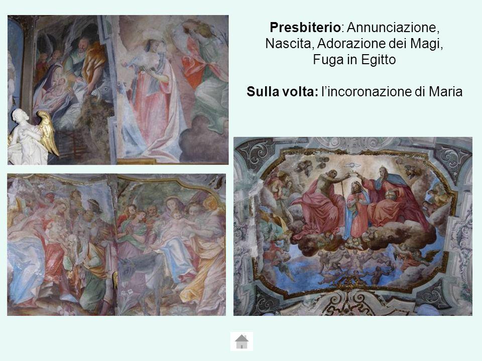 Presbiterio: Annunciazione, Nascita, Adorazione dei Magi, Fuga in Egitto Sulla volta: lincoronazione di Maria