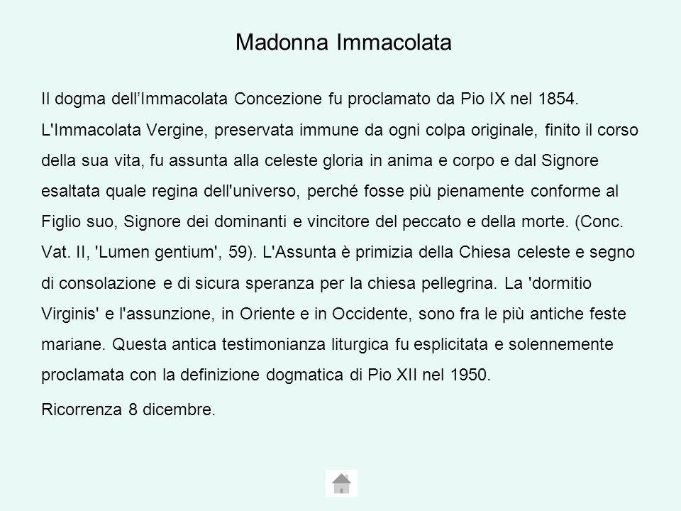Madonna Immacolata Il dogma dellImmacolata Concezione fu proclamato da Pio IX nel 1854.