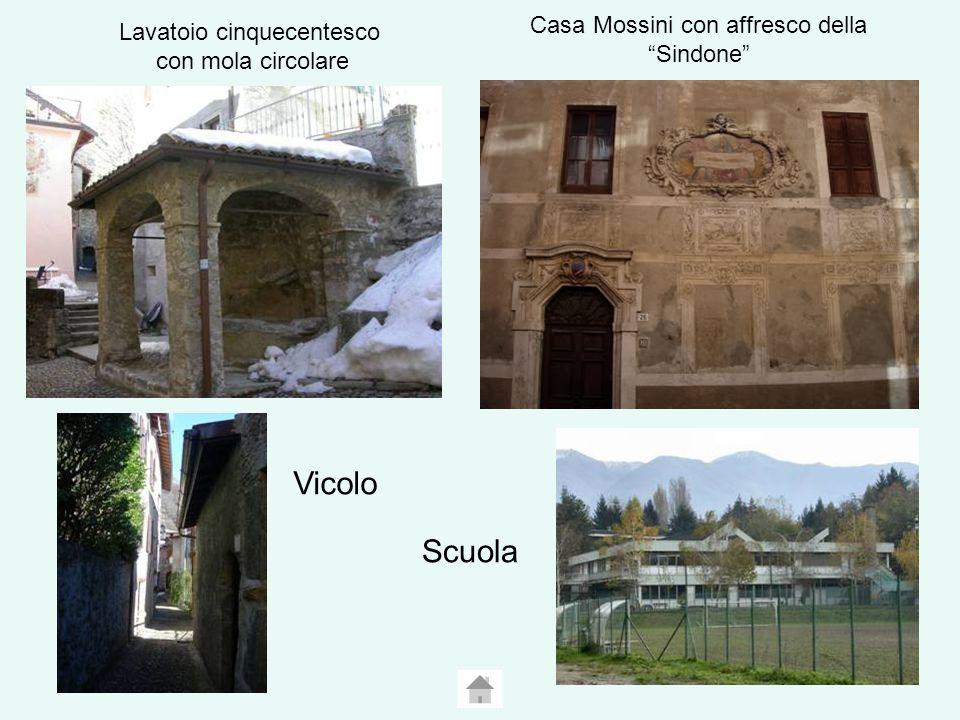 Lavatoio cinquecentesco con mola circolare Casa Mossini con affresco della Sindone Vicolo Scuola