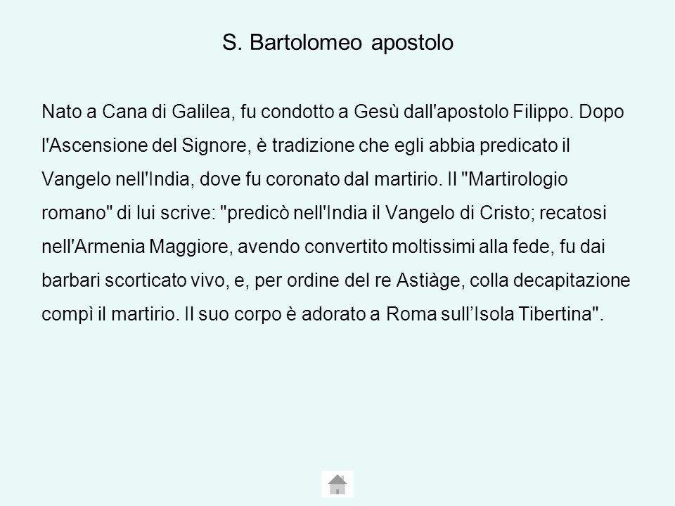 S.Bartolomeo apostolo Nato a Cana di Galilea, fu condotto a Gesù dall apostolo Filippo.