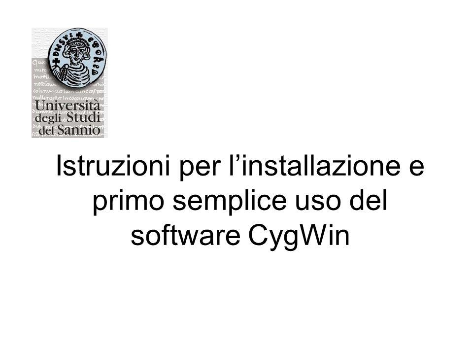 1.Inserire il CDROM CygWin nel lettore, aprite la directory cyg e lanciare in esecuzione (con un doppio click del pulsante sinistro del mouse sulla relativa icona) il programma setup.exe