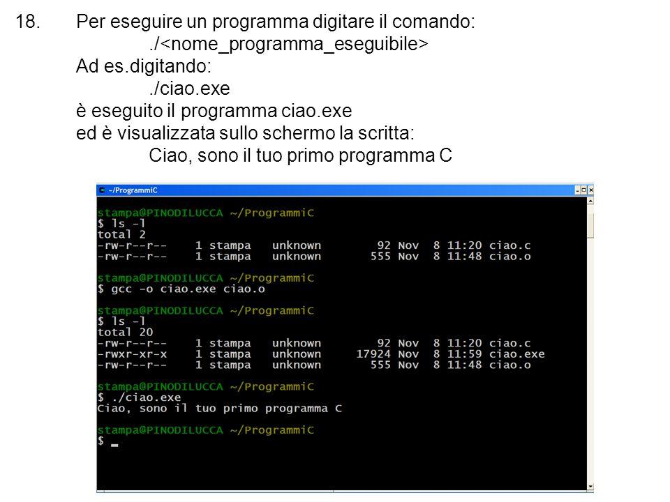 18.Per eseguire un programma digitare il comando:./ Ad es.digitando:./ciao.exe è eseguito il programma ciao.exe ed è visualizzata sullo schermo la scr