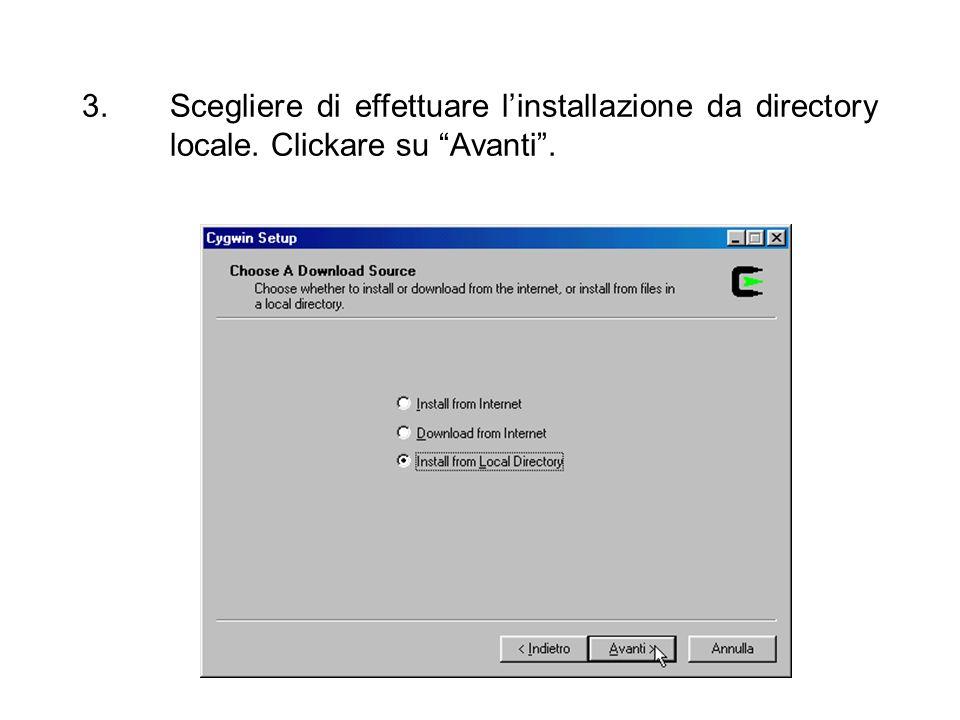 4.E proposto cygwin come nome di directory per linstallazione sul disco fisso.
