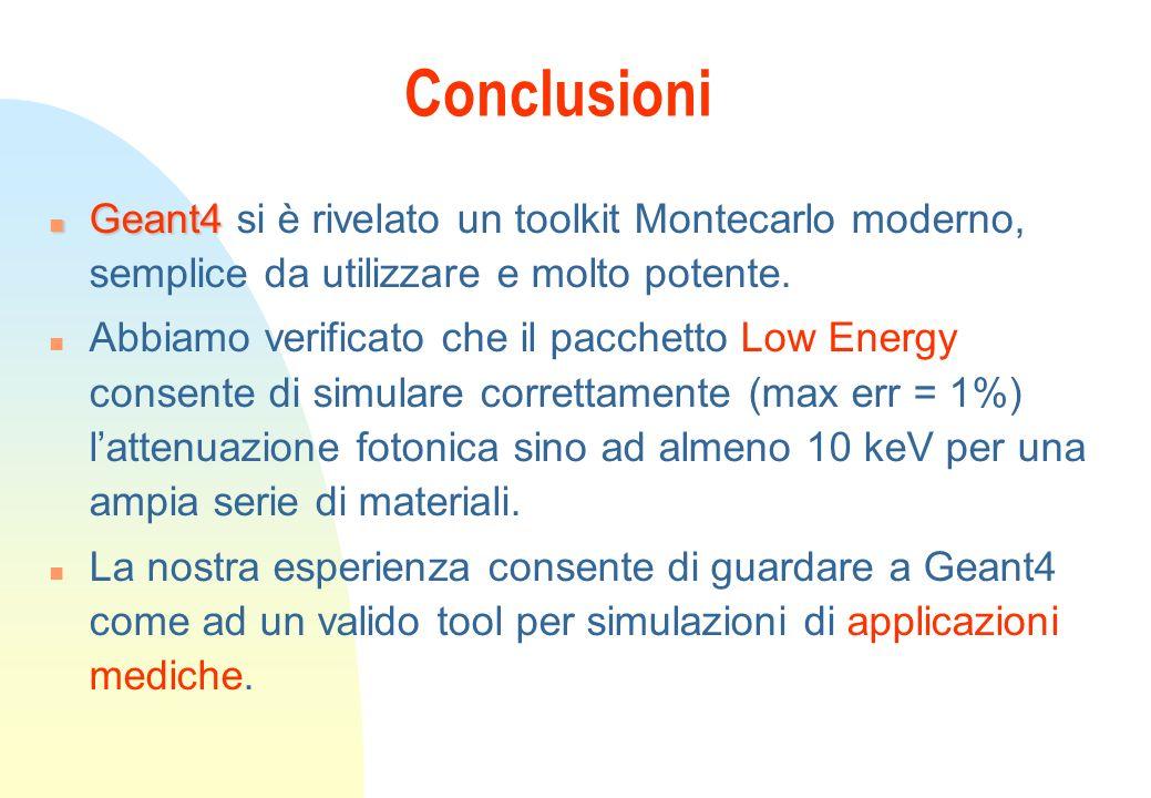 n Geant4 n Geant4 si è rivelato un toolkit Montecarlo moderno, semplice da utilizzare e molto potente.