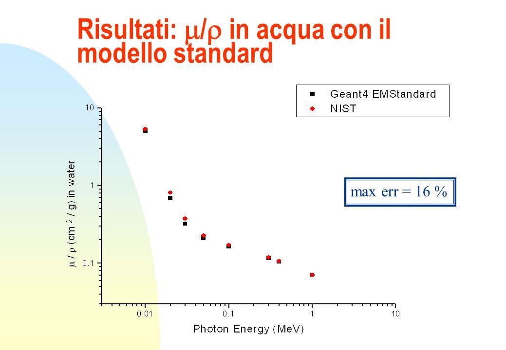 Risultati: / in acqua con il modello standard max err = 16 %