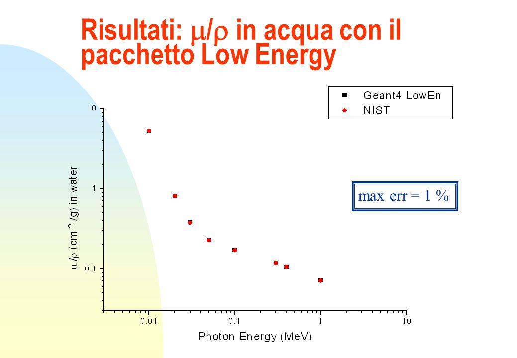 Risultati: / in acqua con il pacchetto Low Energy max err = 1 %