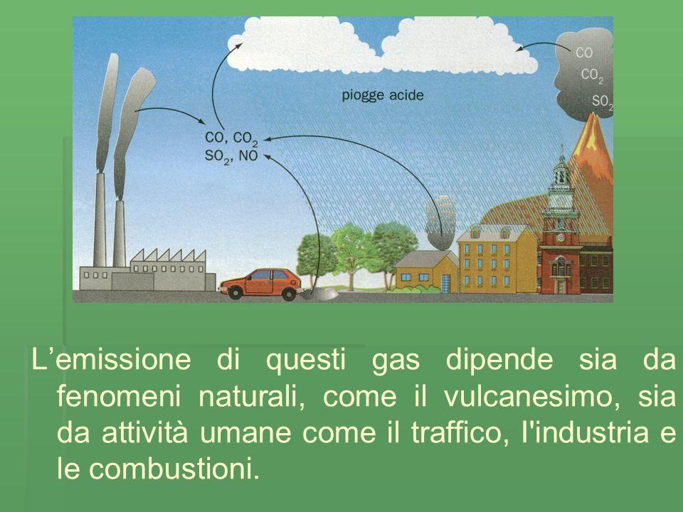 Lemissione di questi gas dipende sia da fenomeni naturali, come il vulcanesimo, sia da attività umane come il traffico, I industria e le combustioni.