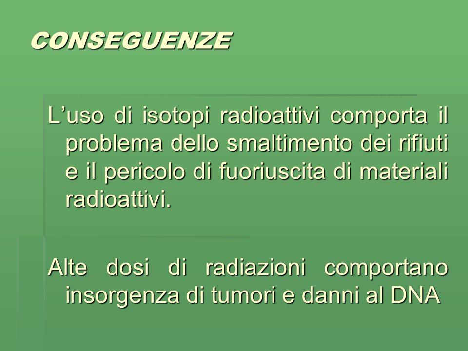 CONSEGUENZE Luso di isotopi radioattivi comporta il problema dello smaltimento dei rifiuti e il pericolo di fuoriuscita di materiali radioattivi.